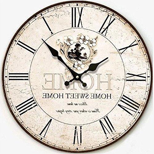 TOPINCN Style Antique Vintage Paris Tour Eiffel Horloge Paris Rond en Bois Horloge Murale Cuisine Maison Chambre D/écoration