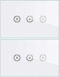 Interruttore a Parete WiFi con Pannello in Vetro, Interruttore Touch Screen Bianco, Telecomando Wireless, Funzione di Temp...