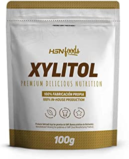 Xilitol de HSN Foods | Edulcorante Natural Sin Calorías | Endulzante para Recetas Fitness | Sustituto del Azúcar | Apto Vegano, Sin Gluten, Sin Lactosa | En Polvo, Sin Sabor - 100g