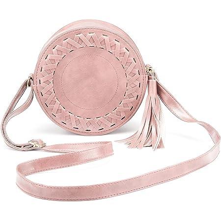 JOSEKO Handytasche Crossbody Tasche, Umhängetasche Damen Mode Runde Schultertasche Klein Hüfttasche Reißverschluss Handytasche Geldbörse mit Quaste für Reise Outdoor Arbeit (Pink)
