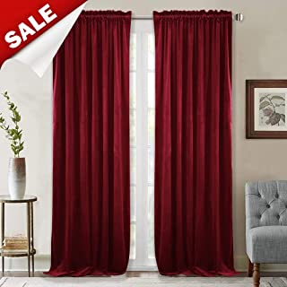 StangH Theater Red Velvet Curtains - Rustic Home Decor Heavy Duty Velvet Drapes with Dual Rod Pocket Sound Lower Light Dimming Panels for Media Room/Master Bedroom, W52 x L84-inch, 2 Panels