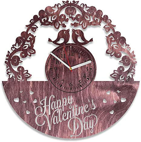 Amazon Com Kovides Happy Valentines Day Wooden Clock Unique Gift Idea For Men Ad Woman 12 Inch February 14 Gift Ideas In Love Handmade Wall Decorations Love Wood Art Red Home Kitchen