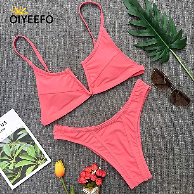 HITSAN Oiyeefo Deep-V Khaki Bikini Brazilian Set Women Bathers Swim Suit Swimwear Female Swimsuit 4 colors Beach Mayo De Bain color Pink Size S