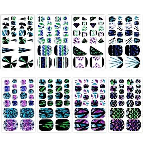 Mobestech 8 peças de adesivos para unhas dos pés, tiras de esmalte de unha, decoração de unha, adesivo de manicure, conjunto de manicure para mulheres e meninas