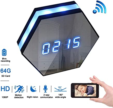 Cyperlink Spy Camera Clock,1080p Full Hd WiFi Clock Cam with 8m Ir Super Night Vision,Wireless Motion Activated Surveillance Nanny Recorder System for Home/Office, Free Android/iOS APP