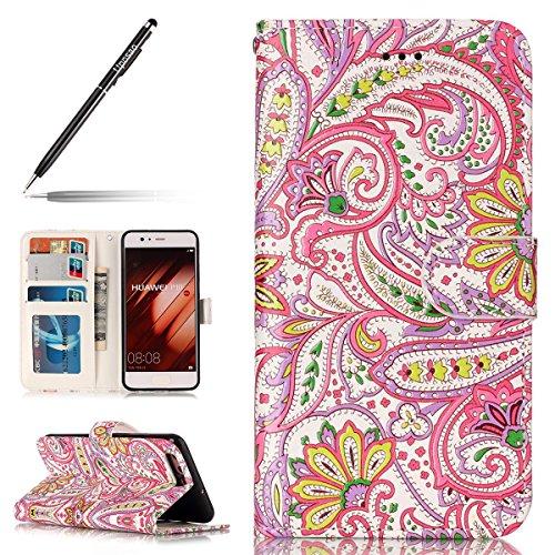 Uposao Coque Huawei P10,Housse Huawei P10, Pochette Portefeuille Cuir Coque de Protection Housse Flip Cover Case Coque à Rabat Magnétique Beau Rétro Motif 3D Coque pour Huawei P10,Fleur