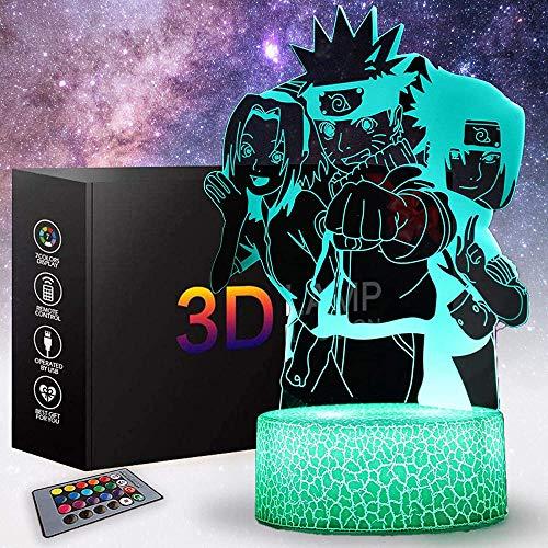 Luz nocturna 3D para niños, lámpara de ilusión 3D, lámpara de mesita de noche, juguetes Naruto, luz nocturna, 16 colores que cambian con control remoto, decoración creativa para la habitación