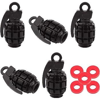 LIOOBO 5pcs Car Tire Stem Valve Caps Grenade Shape Metal Car Tire Air Valve Caps Dust Stems Cover for Cars Bike Motorcycle Black