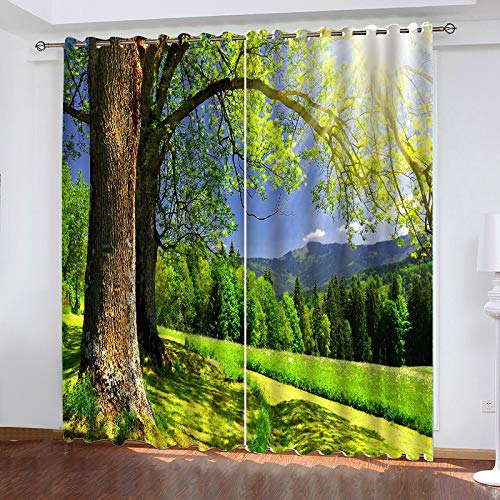 MMHJS 3D Trees And Landscape Printing Curtains, Hotel Garden Balcony Blackout Vertical Curtains, Polyester Perforated Waterproof, Household Items (2 Pieces)