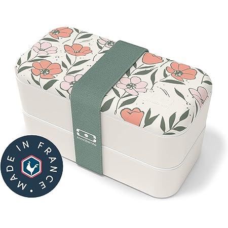 monbento - MB Original bento box Graphic Bloom Made in France - Lunch box motif fleurs hermétique 2 étages - Boîte repas idéale pour le travail/école - sans BPA - durable et sûre