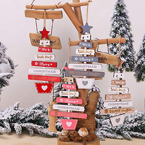 MPEEJ 2020 New Year Natural Xmas Elk Wood Craft Christmas Tree Ornament Christmas Decorations Natural Wood Hanging Pendants Party New (Red)