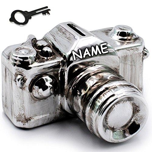 alles-meine.de GmbH XL Spardose -  Kamera / Fotoapparat / Spiegelreflexkamera - Silber  - incl. Name - mit Schlüssel & Schloß - stabile Sparbüchse aus Porzellan / Keramik - Spa..