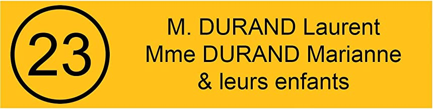 Zelfklevende pvc-brievenbusplaat, met cijfers, personaliseerbaar, 10 x 2,5 cm, 21 kleuren verkrijgbaar (geel)