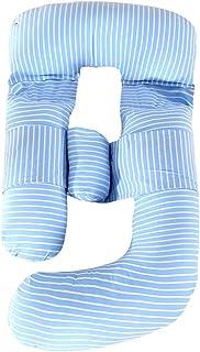 YOUCAI Almohada de Maternidad en G Almohada de Cuerpo Entero Almohada Embarazada Dormir con Funda Lavable,185x80x130cm,Azul-Raya