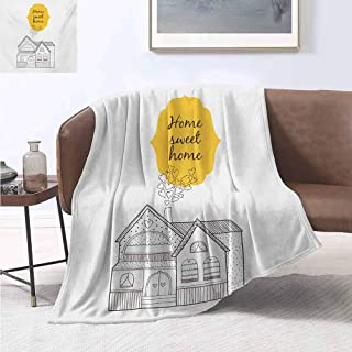 jecycleus Home Sweet Home Luxury Special Grade Blanket Village House with Dots Lines and Hearts Old English Country Multi-Purpose use for Sofas etc. W60 by L70 Inch Yellow Dark Brown White