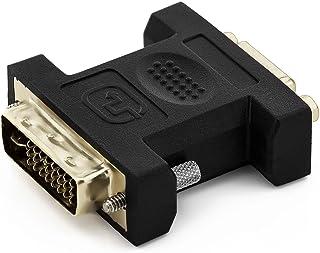 deleyCON Adaptador VGA a DVI-I - Hembra VGA a Macho DVI-I - para Monitor PC Proyector de Video Tarjeta Gráfica - Negro