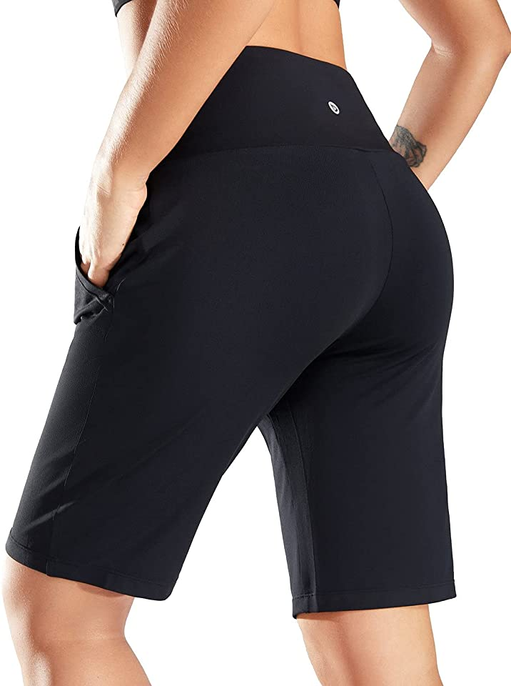 BALEAF 10 Bermuda Shorts for Women Lightweight Athletic Long Shorts Soft Runnning Workout Lounge Shorts with Pockets