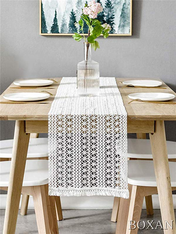 BOXAN Elegant Lightweight Lace Macrame Table Runner Hollow Mesh Crochet Table Runner For Rustic Boho Wedding Decor Bridal Baby Shower Decoration Vintage Farmhouse Tabletop Decor 12 X 108