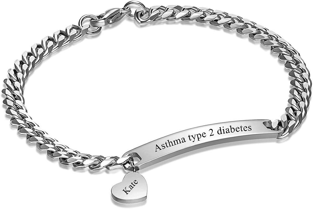 Sunligoo Personalized Custom Engraving ID Bracelet Stainless Steel Heart Couples Bracelet Adjustable