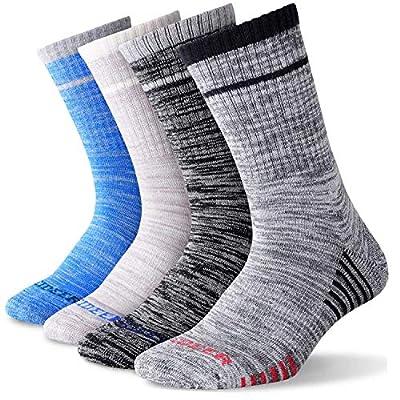 Men's Hiking Walking Socks, FEIDEER Multi-Pack Wicking Cushioned Outdoor Recreation Hiking Crew Socks (Black/Light Gray/Dark Gray/Blue, Men's socks size 10-13 (US))