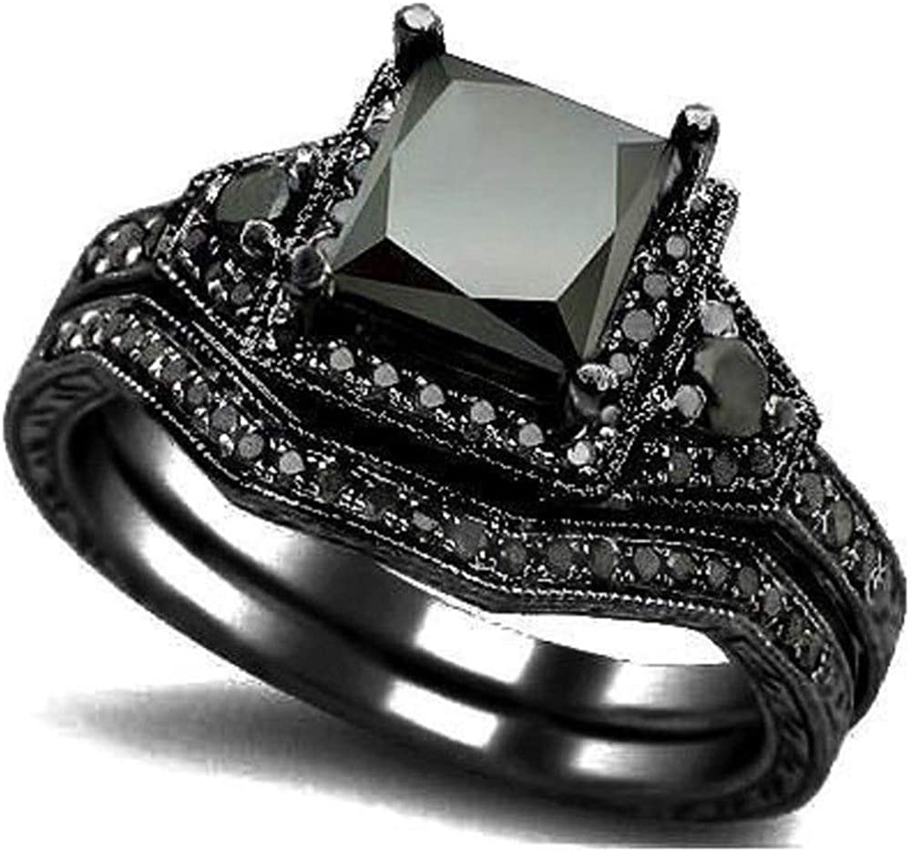 Kingray Jewelry Black Onyx Princess Cut Anniversary Wedding Bridal Ring Set