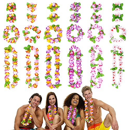 O-Kinee Collares Hawaianos Fiesta, 24 Juego de Guirnaldas Flores, Hawaianas Decoración de Colores,Hawaianas Leis Luau Flores con 12 Pulseras 6 Diademas y 6 Collares Tema de Playa Decoraciones
