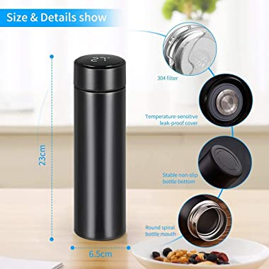 [2021 UPGRADE] Smart Vacuum Insulated Water Bottle Travel Mug with LED Temperature Display | 304 Stainless Steel Drink Bottle