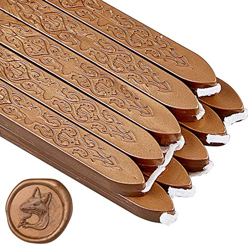 CRASPIRE 20 Stück Vintage Seal Wax Sticks Mit Dochten Antikes Manuskript Seal Wax Für Wax Seal Stamp Umschlagkarten Einladungsgeschenk Dekoration (Bronze)