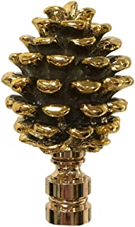 Royal Designs F-5064PB-1 Pine Cone Design Lamp Finial, Polished Brass
