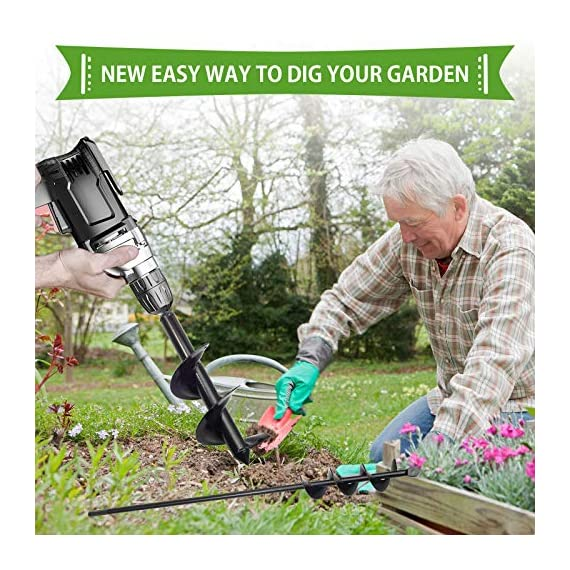 """SETROVIC Garden Spiral Hole Drill Planter 1.6""""x18"""" & 4""""x12"""" Garden Auger Bulb Planter Tool Rapid Planter Garden Drill Planter Hole Digger for 3/8"""" Hex Driver Drill 2-in-1 Set 9 【2-in-1 Set】1.6""""x18"""" & 4""""x12"""" bulb planter suitable for various planting requirements. Thickened and elongated drill enables easier drilling and thickened link rod is more durable and resistant, quickly digs holes up using the power of your hand held drill. 【High Quality Products】 Made of heavy duty steel, with premium glossy painted finish. The auger drill bit point on it hits the ground first and keeps it steady when you are digging hard grounds. The rod is connected with the shaft, it's difficult to break.This auger drill bit is suitable for most 3/8"""" hex drive drill. 【Efficient Planting】Our bedding plants drill bit will make hundreds of holes in few minutes, makes hole digging easier, it will save your time & save your back. The long size drill bit allows you to stand and dig. It can save much effort for you in massive digging."""