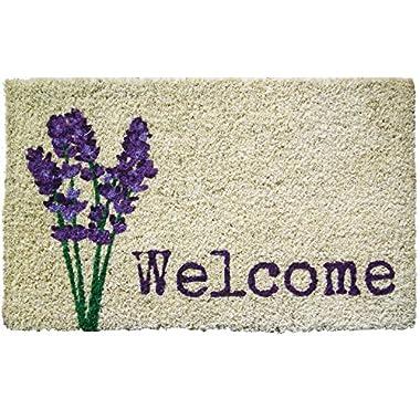 Door Mats - Lavender Garden Coir Welcome Mat - 18  X 30  - Doormat - Door Mat