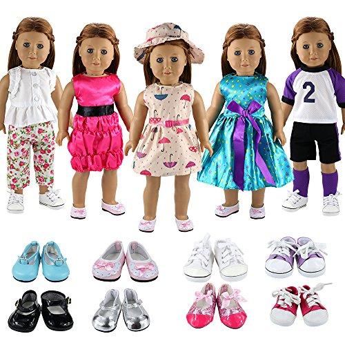 Miunana 7X = 5X Vestidos Verano Casual Ropas de Deporte Vestir 2 Pares Zapatos Accesorios para 18 Muñeca 46 cm American Girl Doll