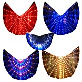 LED Isis Wings Glow Light Up Belly Dance Costumes with Sticks Performance Clothing Carnival Halloween Blue