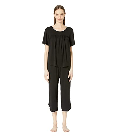 Kate Spade New York Evergreen Cropped Short Sleeve Pajama Set (Black) Women