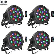 Wireless Battery Stage Lights Package, OPPSK 18LED RGB Par Lights Battery Power 4 Pack 7-15Hours Playing Remote DMX Control for DJ Wedding Party Stage Lighting
