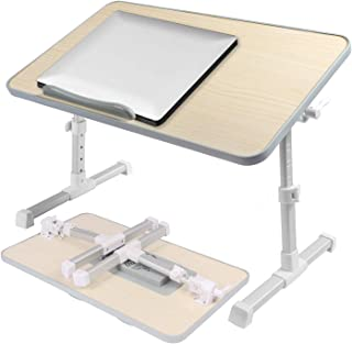 Laptop Table for Bed and Sofa - Adjustable Portable Foldable Laptop Desk - Standing Desk Couch Table with Cooling Fan - Tablet Computer Tray with Foldable Legs.