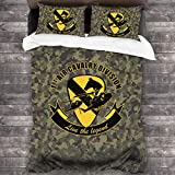 NOT 1st Air Cavalry Division Air Cav - Live The Legend 3 Pieces Bedding Set Duvet Cover for Full Twin Size Bed Ultra Soft Breathable for Bedroom 2 Piece Pillow Cover and Duvet Cover