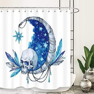 NYMB Halloween Shower Curtain, Watercolor Mystic Skull Moon Bohemia Feathers Shower Curtains Vintage Mandala, Waterproof Fabric Bath Curtain Bathroom Accessories 12PCS Shower Hooks, 69X70 in Blue