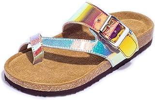 Harvest Land Kids Cork Sandals Soft Leather Footbed Slides for Girls/Boys Comfortable Toddlers Flat Shoes for Summer