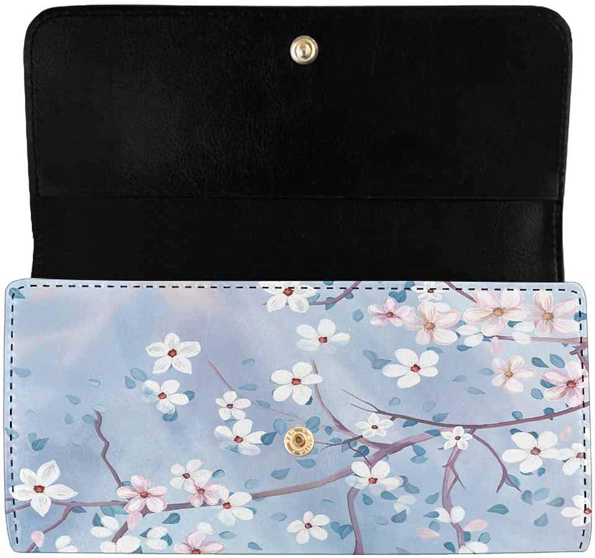 INTERESTPRINT Women's Trifold Clutch Purses Bright Blue Cherry Blossom Card Holder Wallet