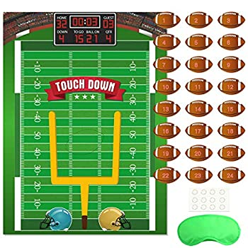 FEPITO Pin The Football on The Goalpost Pin The Football Game for Kids Birthday Party Game with 24 Pcs Football Stickers for Football Party Decorations Kids Birthday Party Decorations