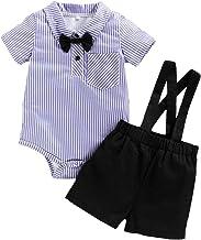 Conjunto de Ropa para bebé recién Nacido Conjunto de Traje de Caballero para bebés Conjuntos Cortos con Camisa de Corbata de Lazo Liguero Pantalones de Oferta Chaleco Conjunto de Overoles