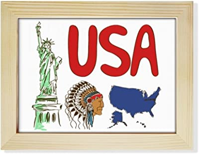 DIYthinker America National symbol Landmark Pattern Desktop Wooden Photo Frame Picture Art Painting 6x8 inch