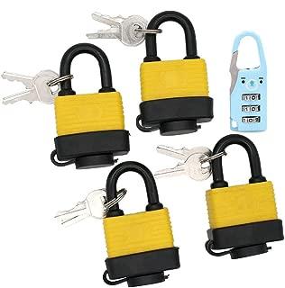 """Set of 4 Keyed Alike Waterproof Padlock, 4"""" Wide Body - Weather Resistant Outdoor Padlock, 8 Keys Included (Send 1 Small Password Lock)"""