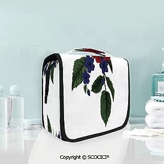 SCOCICI Travel Hanging Wash Bag Kit Rosebud with Little Blossoms Leaves Lov