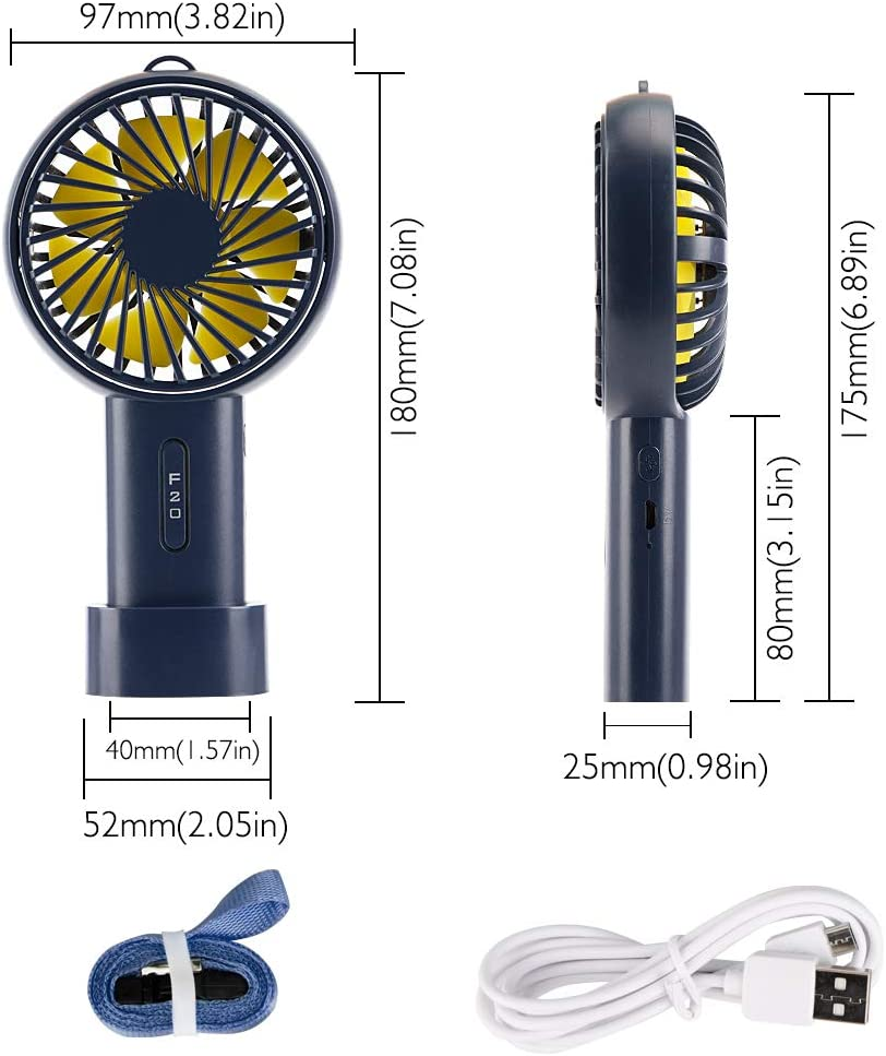 iBazal Mini Handheld Fan Battery 2400mAh Operated Fan 3 Speed Adjustable with USB Rechargeable Small Portable Personal Fan Stroller Desk Table Fan for Home Office Outdoor Travel-Ink Blue