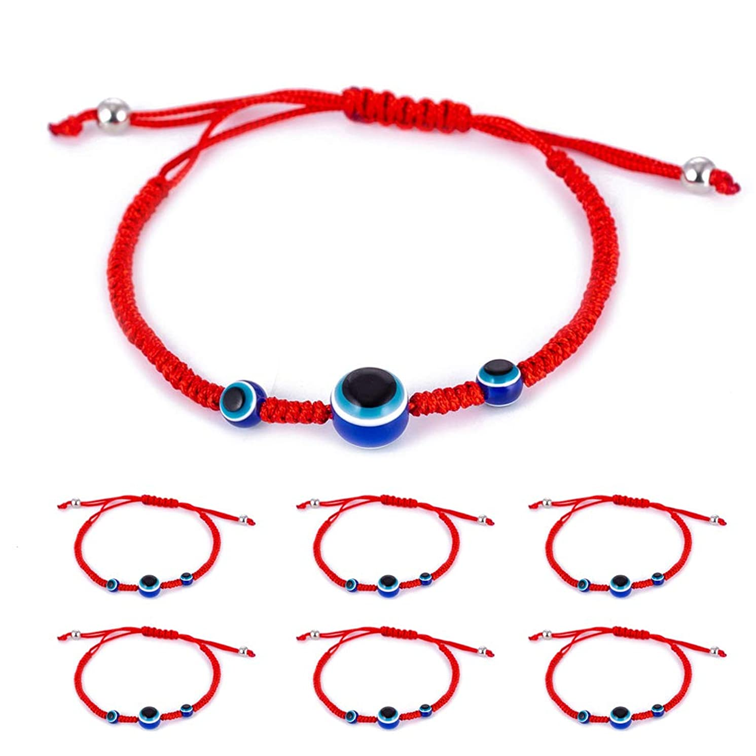6pcs Evil Eye Hamsa Hand String Kabbalah Bracelets for Protection and Luck Hand-Woven Red Black Cord Thread Friendship Bracelet Anklet