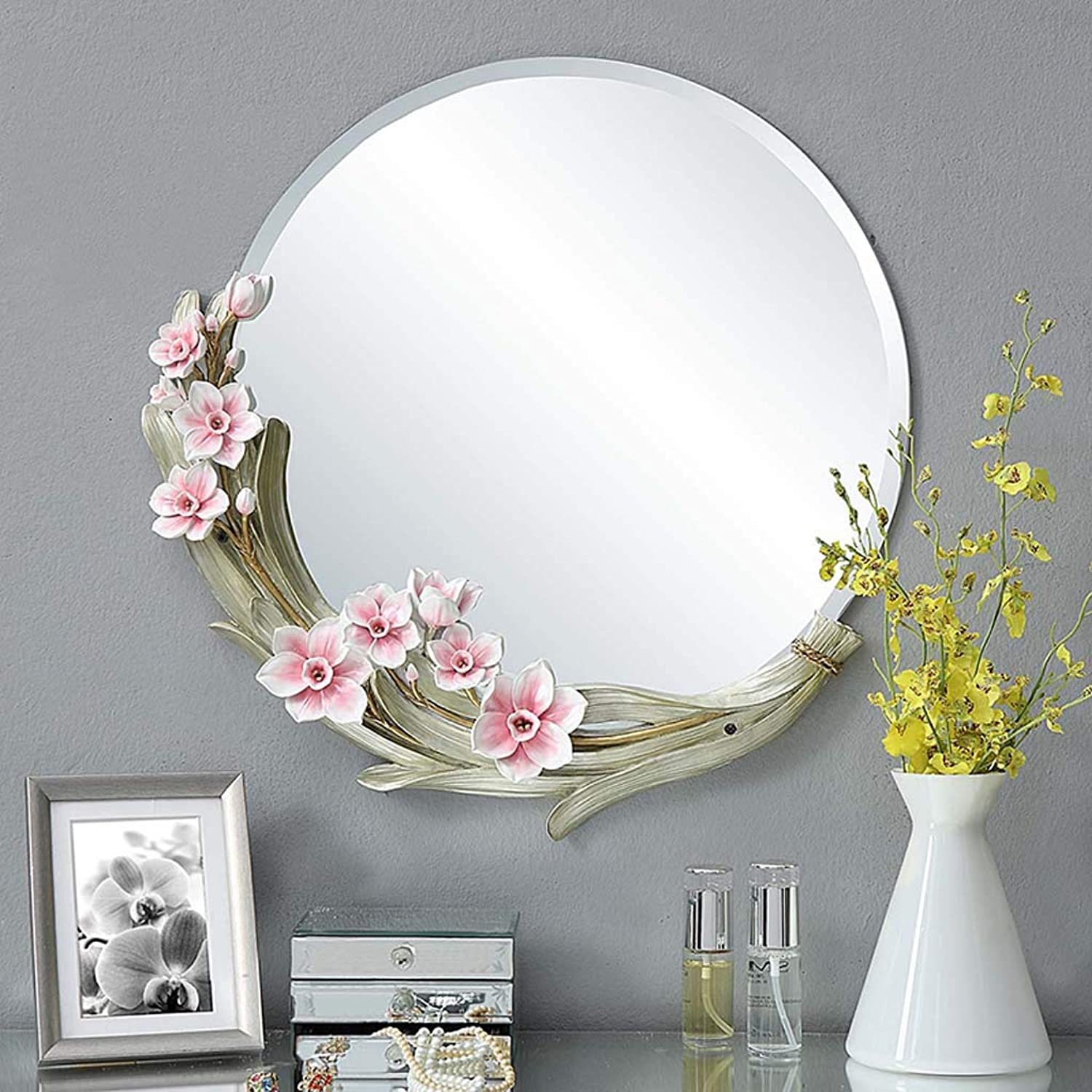 Decorative Mirror Wall Flower Frame Bathroom Mirror 56CM(22Inch) Simple Style Vanity Makeup Art Mirror for Entry Diningroom Bedroom