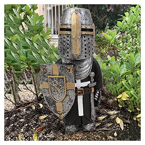 Caballero Gnomos Guardia, estatuilla de la Cruz Templaria, Traje Alto 1/8 Piezas de Resina, Adorno de Escritorio, Escultura de Soldado, colección de Figuras en Miniatura, decoración del hogar