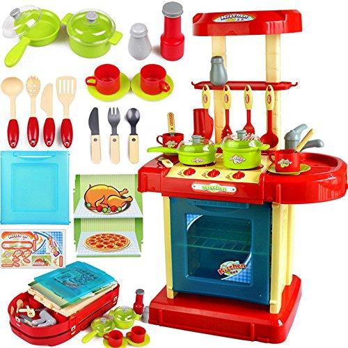 Vaorwne 1 Conjunto de Juguete Electronico Rojo Portatil de Nino de Cocina Conjunto de Juego de Cocina